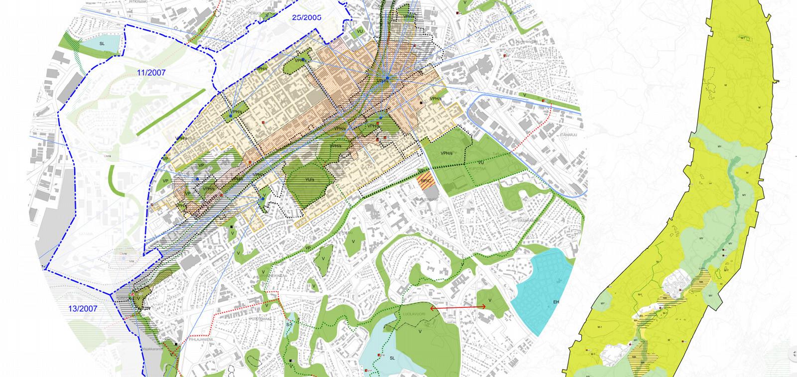 Karttakuvakaappaus yleiskaavaluonnoksesta. Kartta kuvaa Turkua.