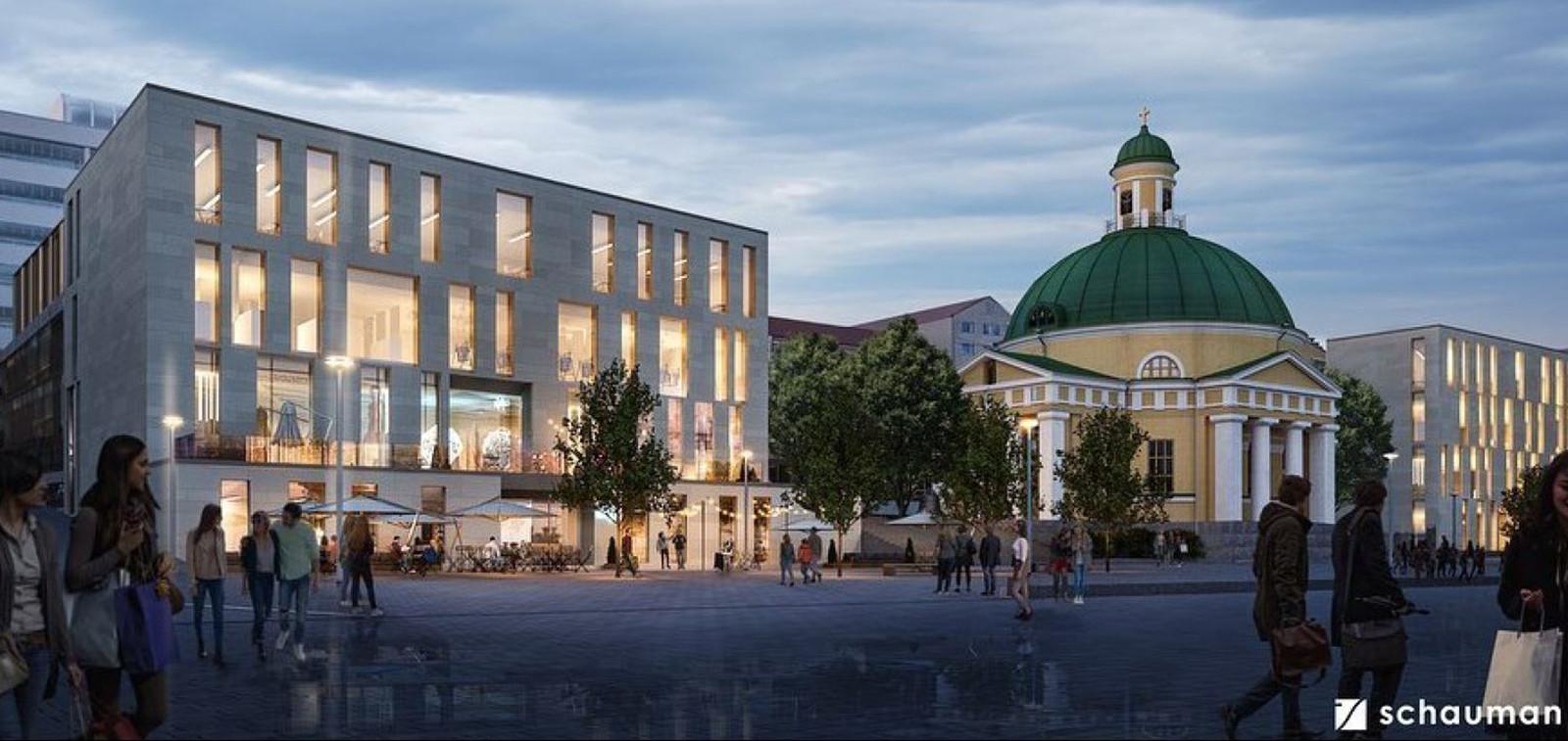 Arkkitehtitoimiston havainnekuva, jossa esitetään uusia rakennuksia Yliopistonkadulle ortodoksisen kirkon viereen.