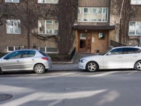 Autoja parkissa kadun varrella
