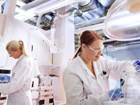 Kaksi naista työskentelee Bayerin laboratoriossa