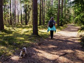 Nainen kävelee luontopolulla ja koira seuraa perässä.