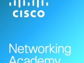 Cisco Networking Academyn logo, jossa valkoiset tekstit sinisellä pohjalla.