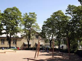 Yrjänänpuistossa on suuri leikkialue, jota reunustaa orapihlaja-aita sekä vaahterat